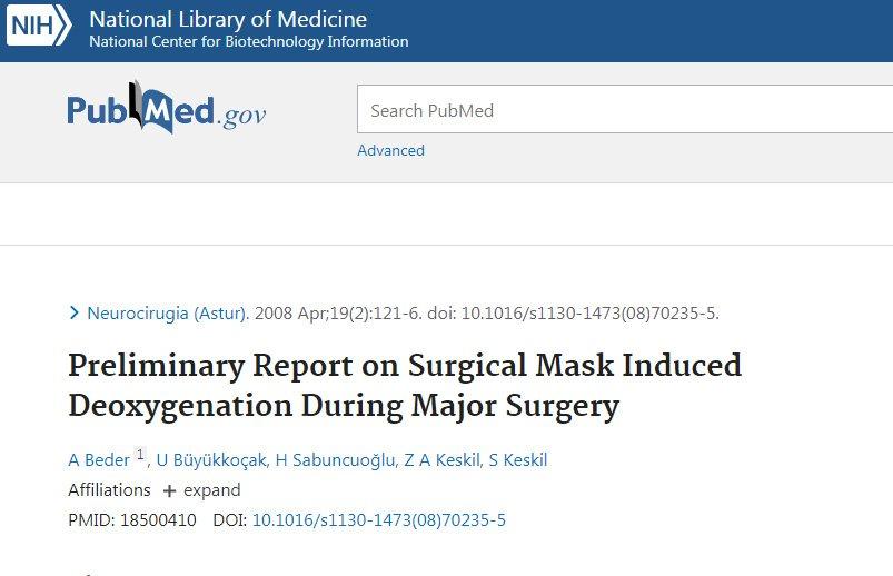 covid mask study deoxygenation